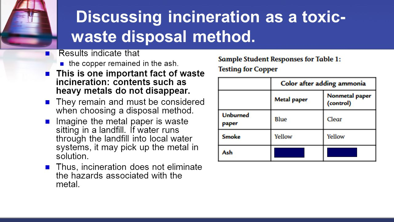 Discussing incineration as a toxic-waste disposal method.