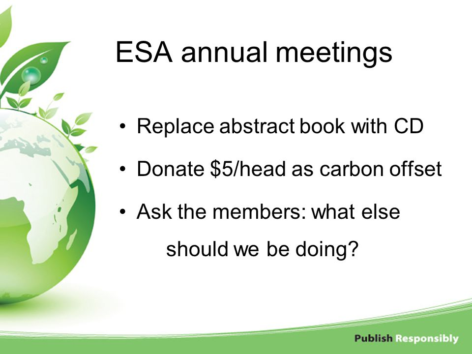 ESA annual meetings Replace abstract book with CD