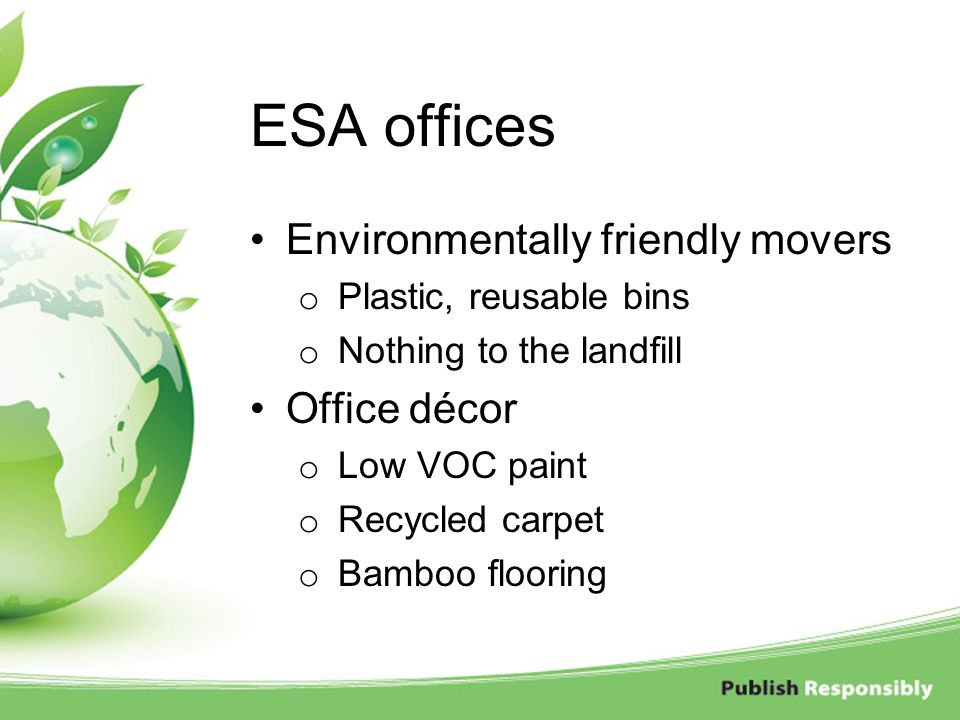 ESA offices Environmentally friendly movers Office décor