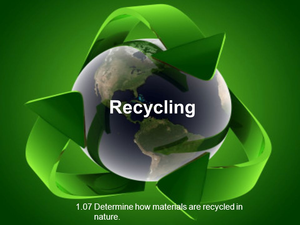 1.07 Determine how materials are recycled in nature.