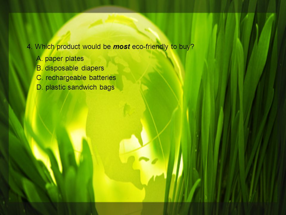 4. Which product would be most eco-friendly to buy