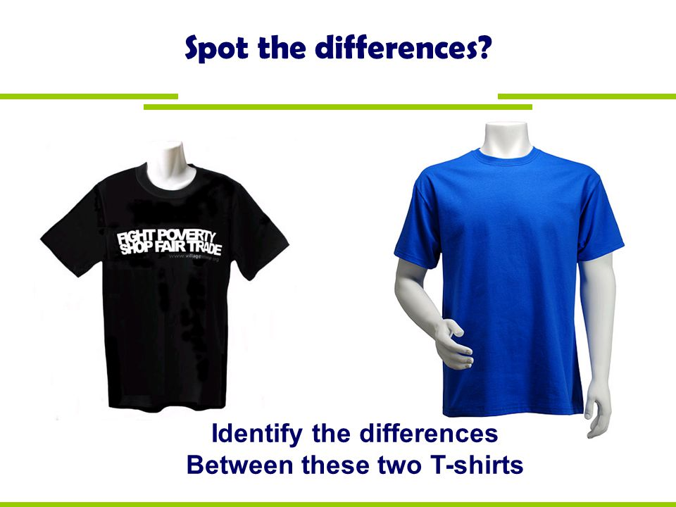 Identify the differences Between these two T-shirts