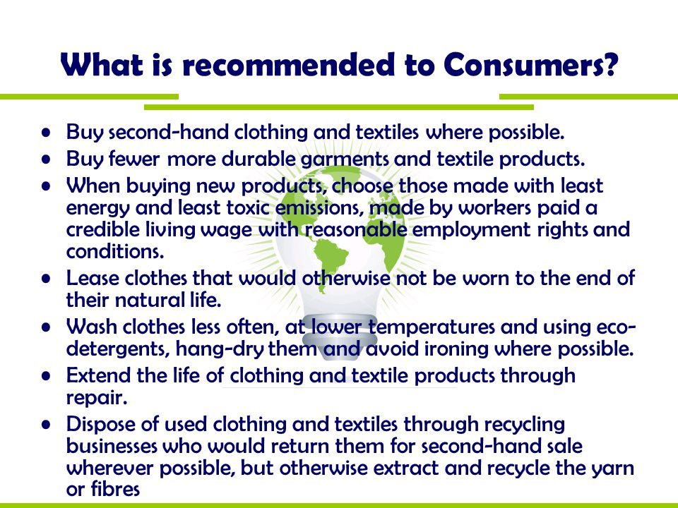 What is recommended to Consumers