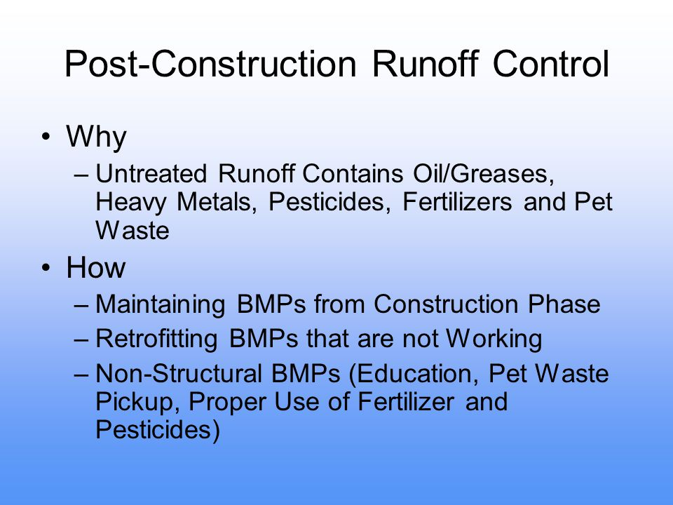 Post-Construction Runoff Control
