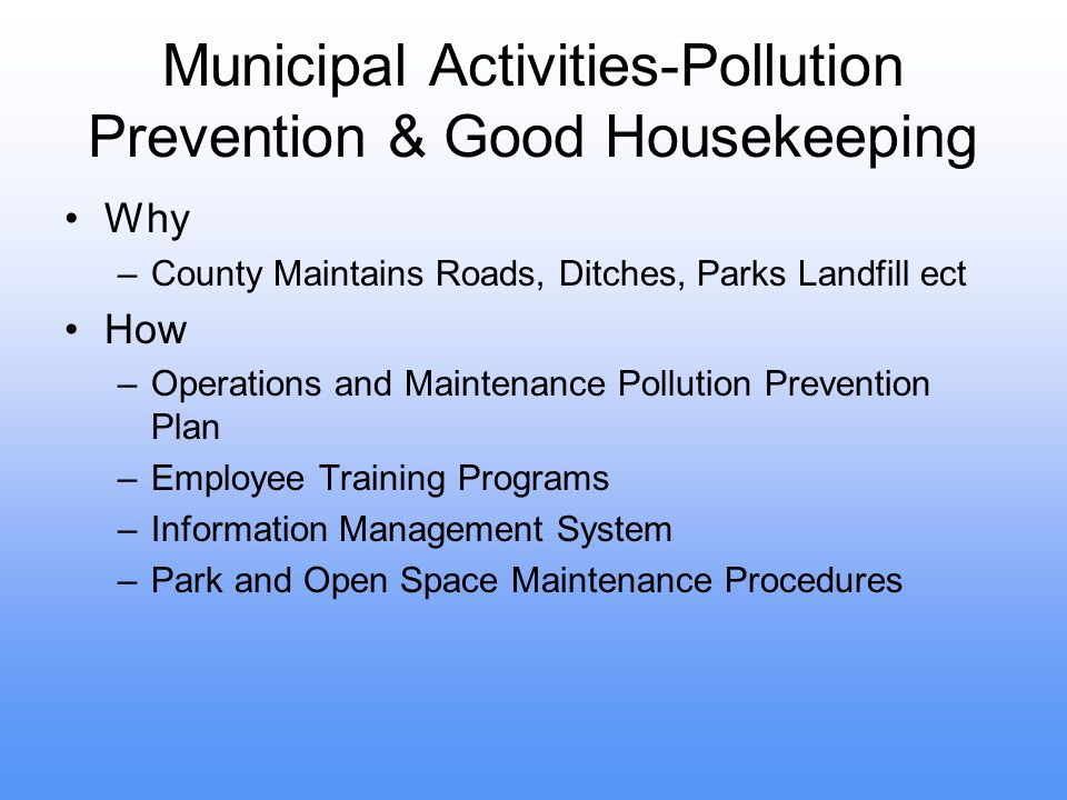 Municipal Activities-Pollution Prevention & Good Housekeeping