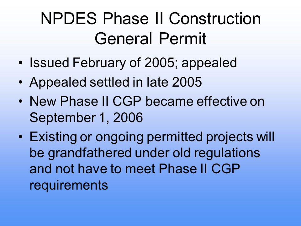 NPDES Phase II Construction General Permit