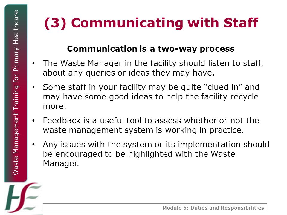(3) Communicating with Staff