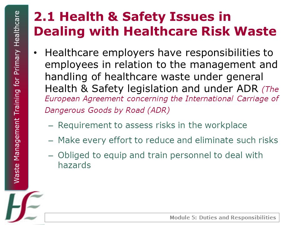 2.1 Health & Safety Issues in Dealing with Healthcare Risk Waste