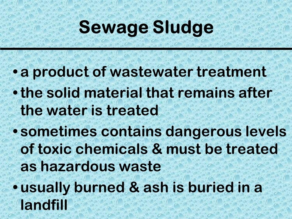 Sewage Sludge a product of wastewater treatment