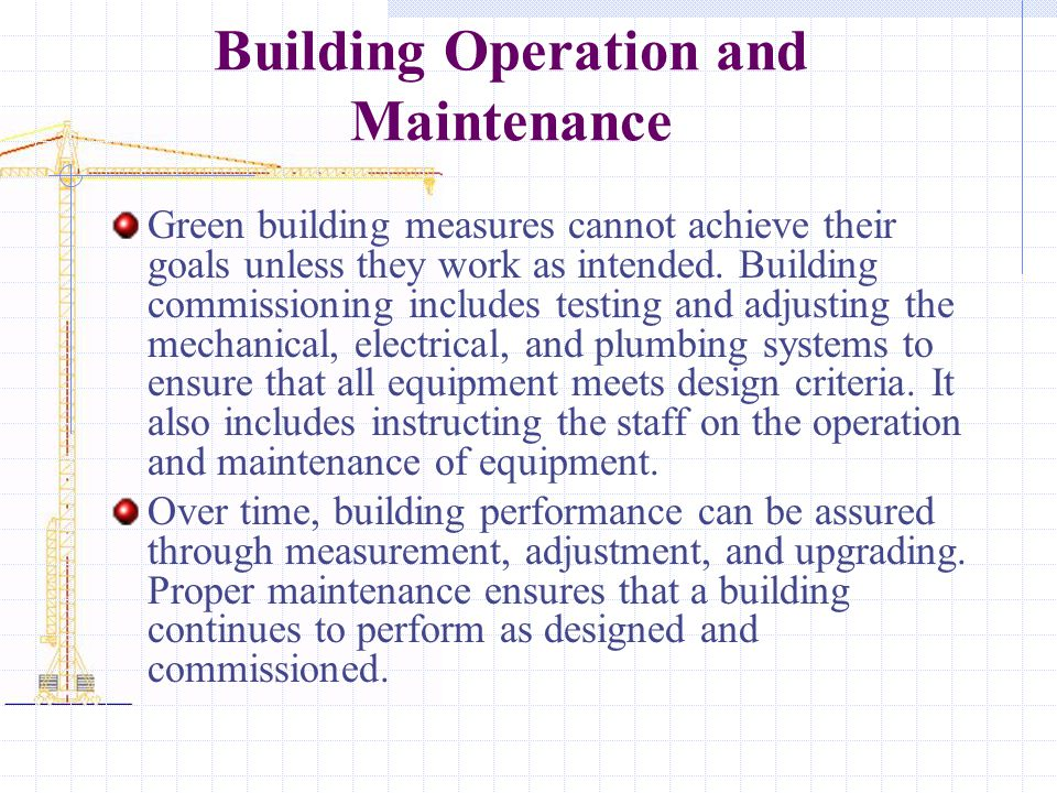 Building Operation and Maintenance