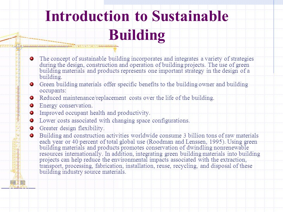 Introduction to Sustainable Building