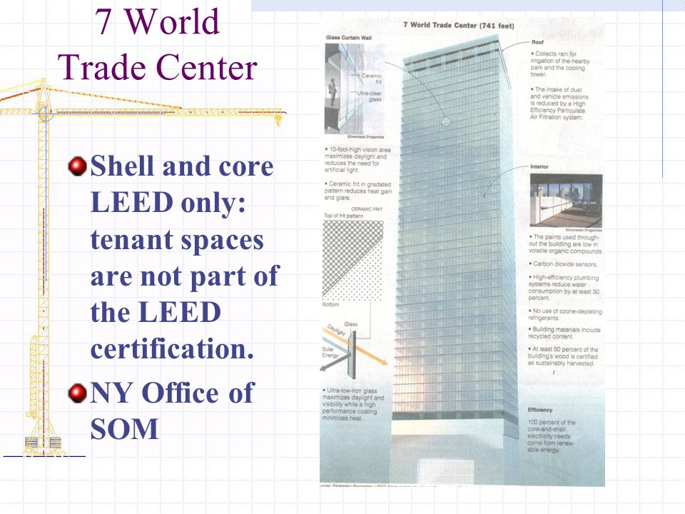 7 World Trade Center Shell and core LEED only: tenant spaces are not part of the LEED certification.