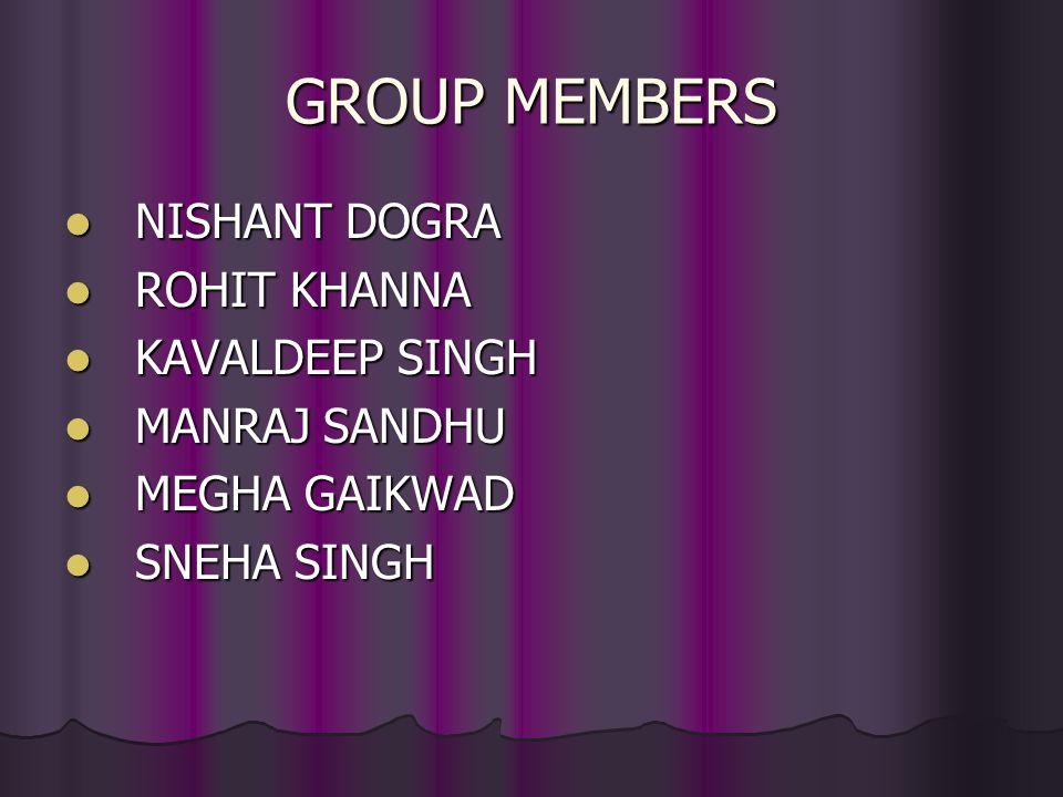 GROUP MEMBERS NISHANT DOGRA ROHIT KHANNA KAVALDEEP SINGH MANRAJ SANDHU