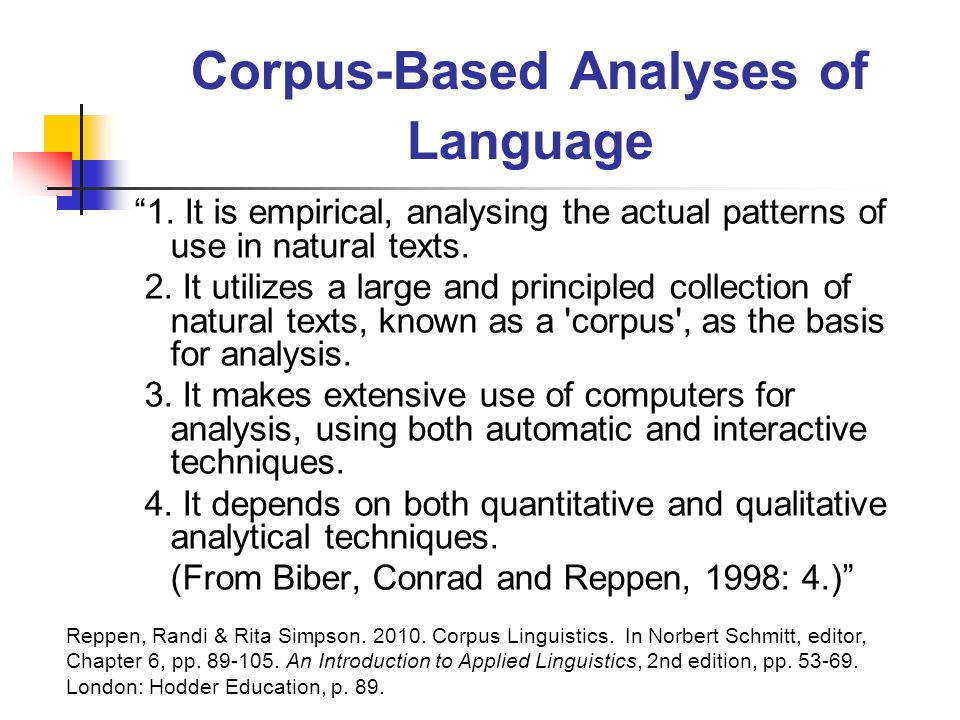 Corpus-Based Analyses of Language