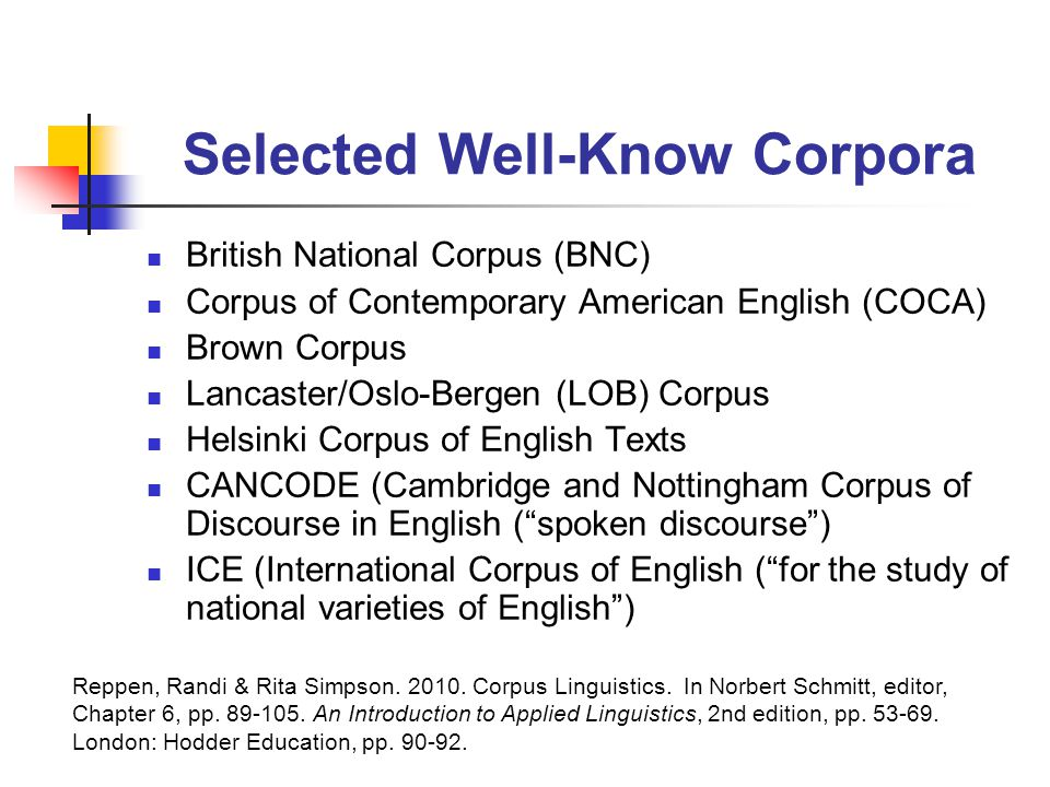 Selected Well-Know Corpora