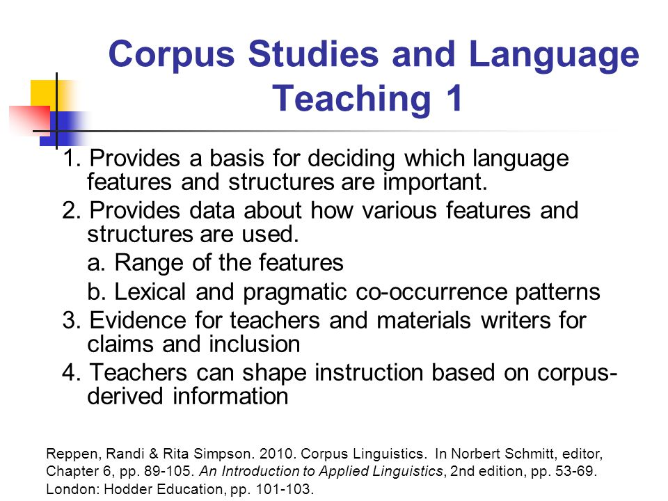 Corpus Studies and Language Teaching 1