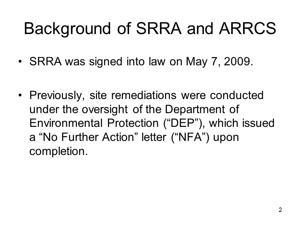 Background of SRRA and ARRCS