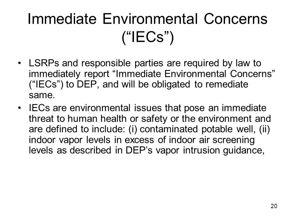 Immediate Environmental Concerns ( IECs )