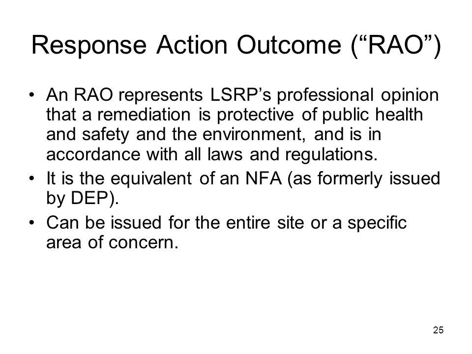 Response Action Outcome ( RAO )
