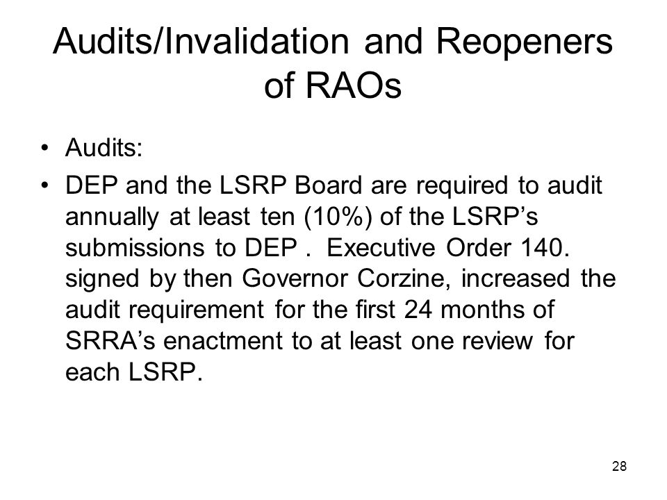 Audits/Invalidation and Reopeners of RAOs