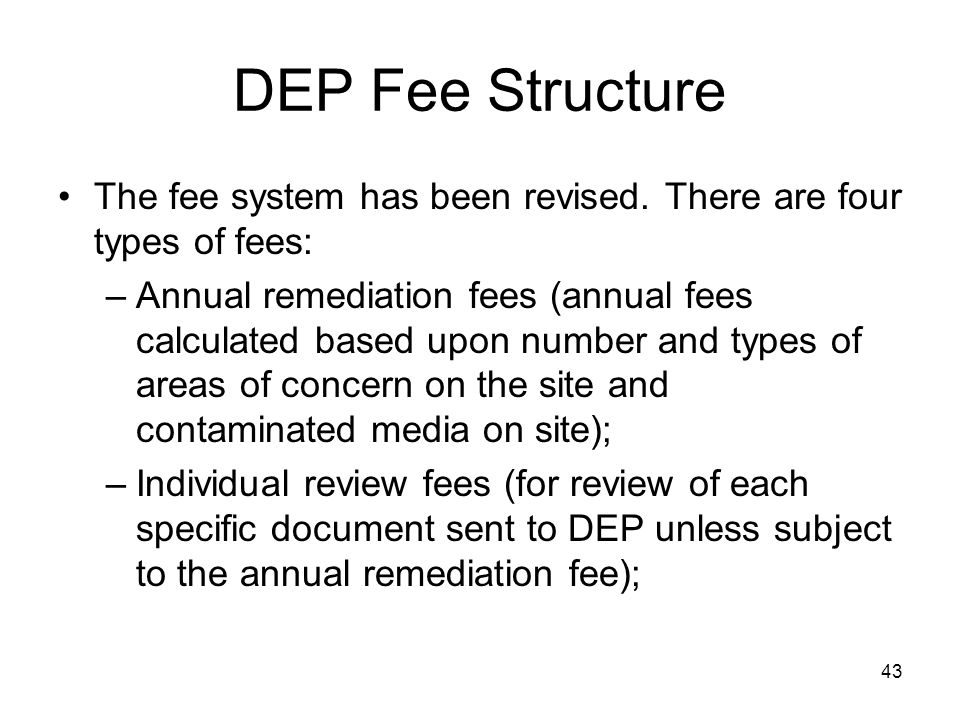 DEP Fee Structure The fee system has been revised. There are four types of fees: