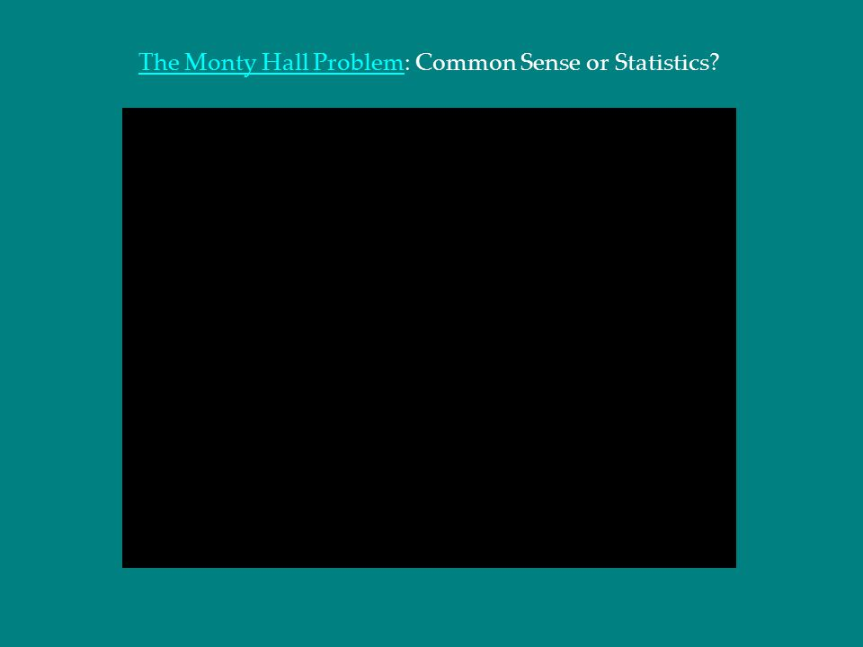 The Monty Hall Problem: Common Sense or Statistics