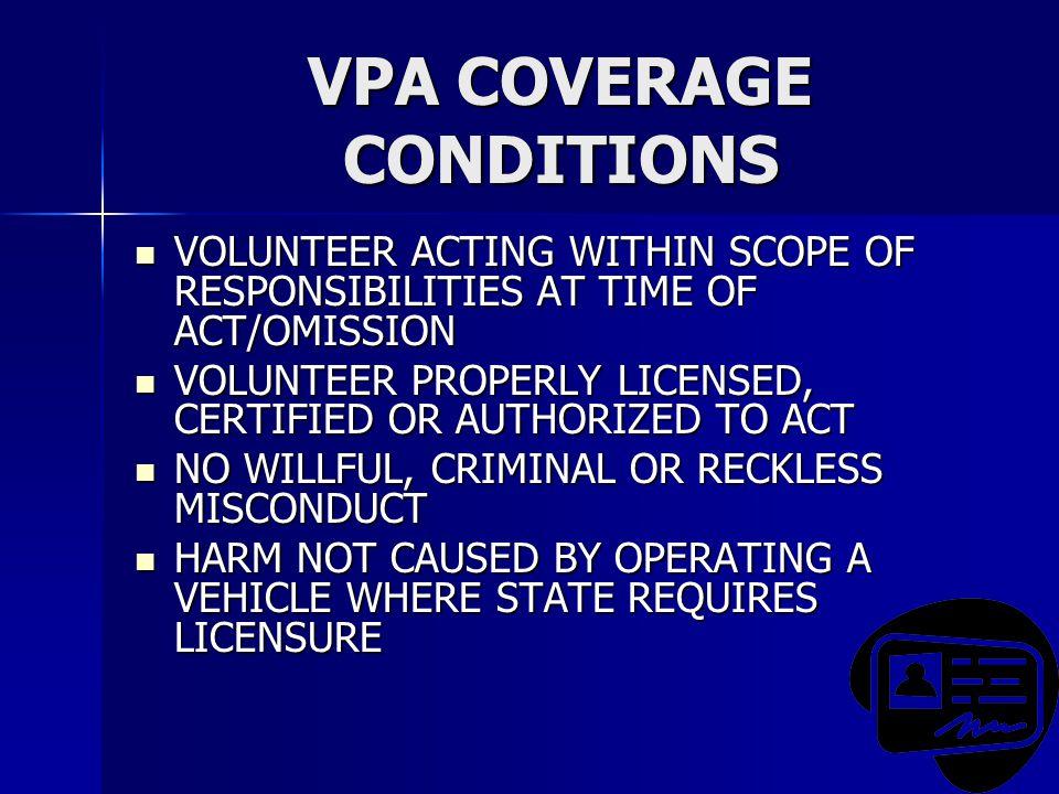 VPA COVERAGE CONDITIONS