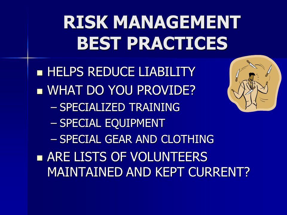 RISK MANAGEMENT BEST PRACTICES