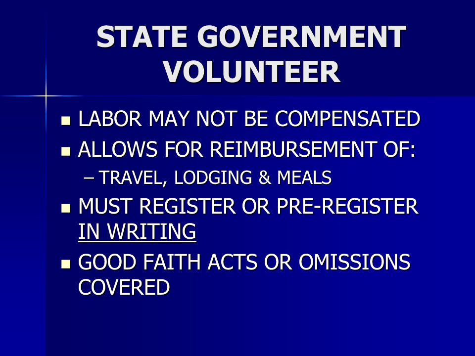 STATE GOVERNMENT VOLUNTEER