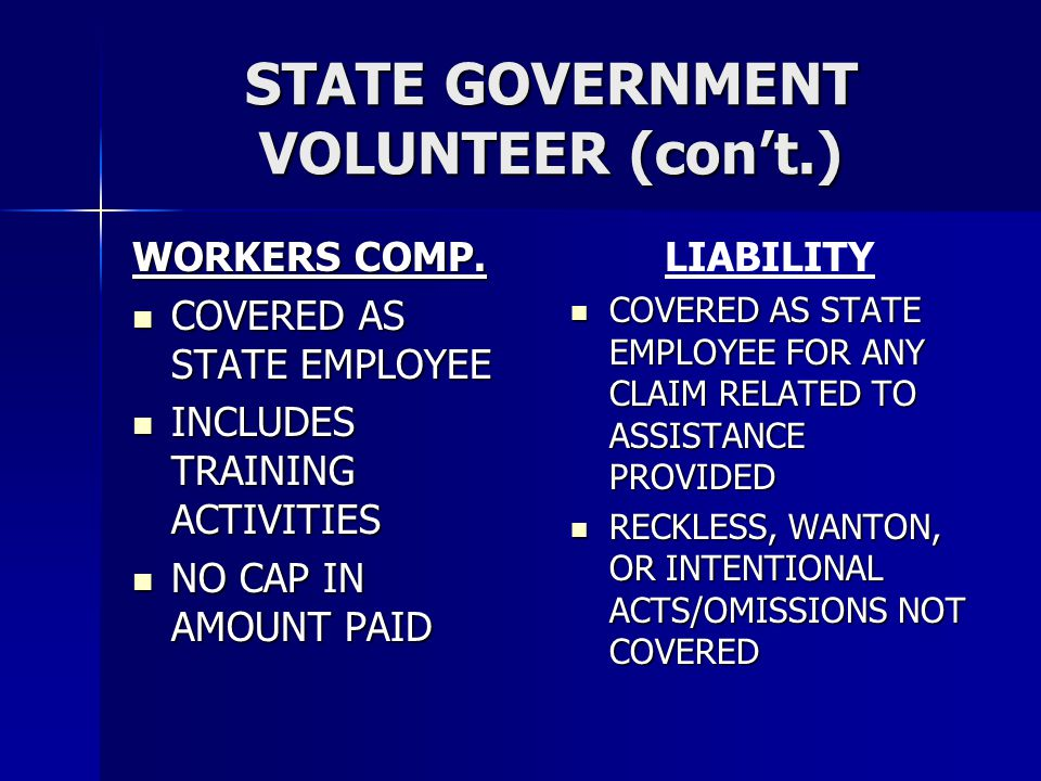 STATE GOVERNMENT VOLUNTEER (con't.)