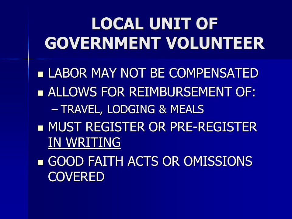 LOCAL UNIT OF GOVERNMENT VOLUNTEER
