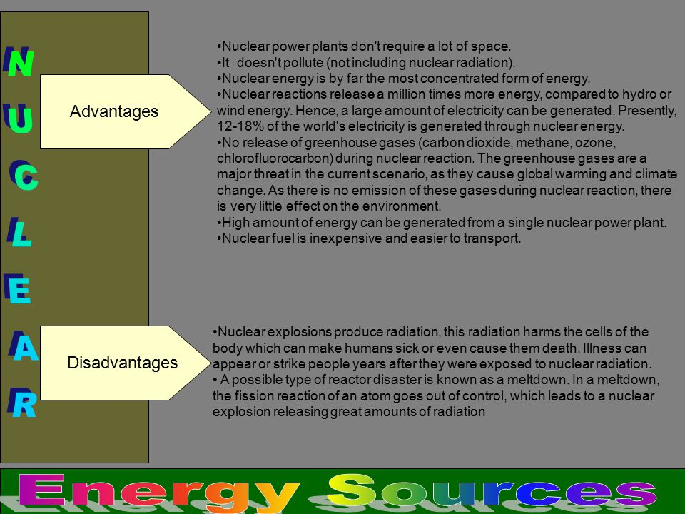 NUCLEAR Energy Sources Advantages Disadvantages