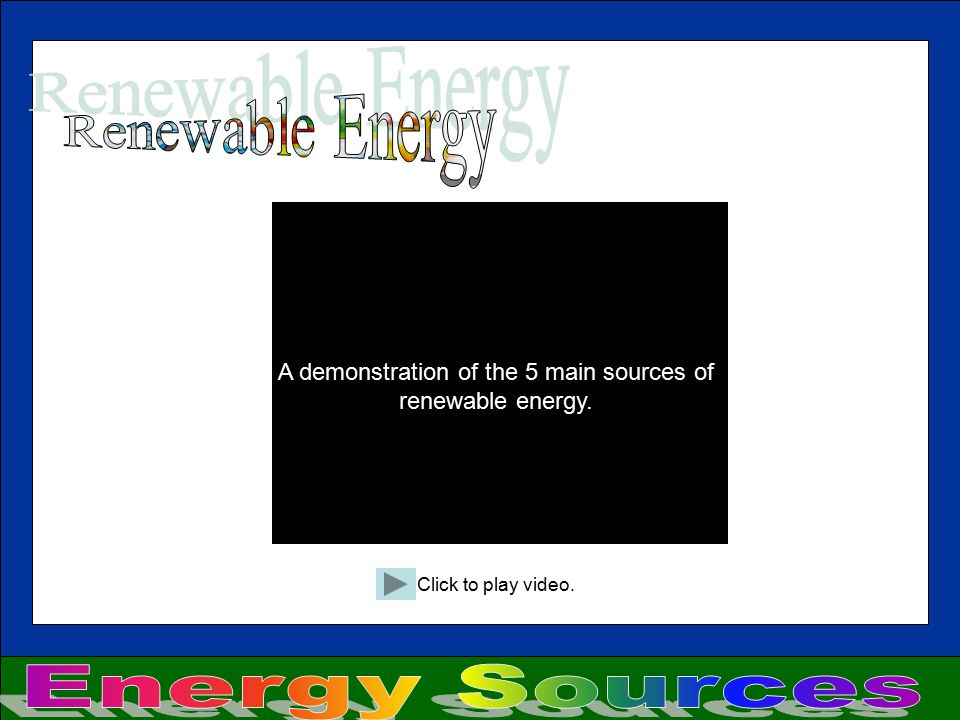 A demonstration of the 5 main sources of renewable energy.