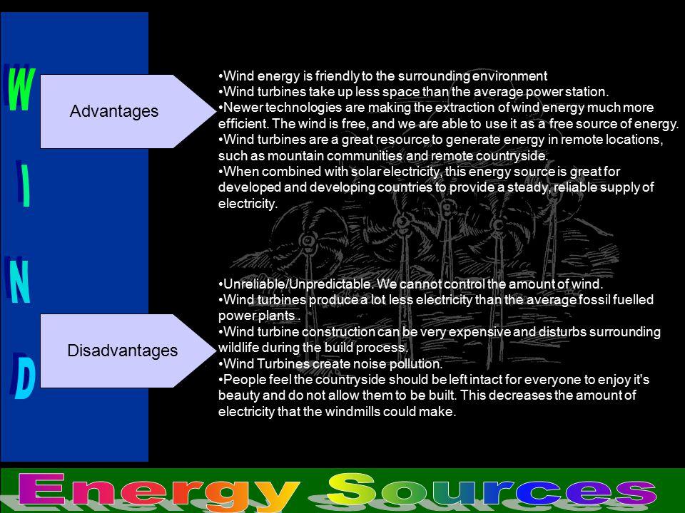 WIND Energy Sources Advantages Disadvantages