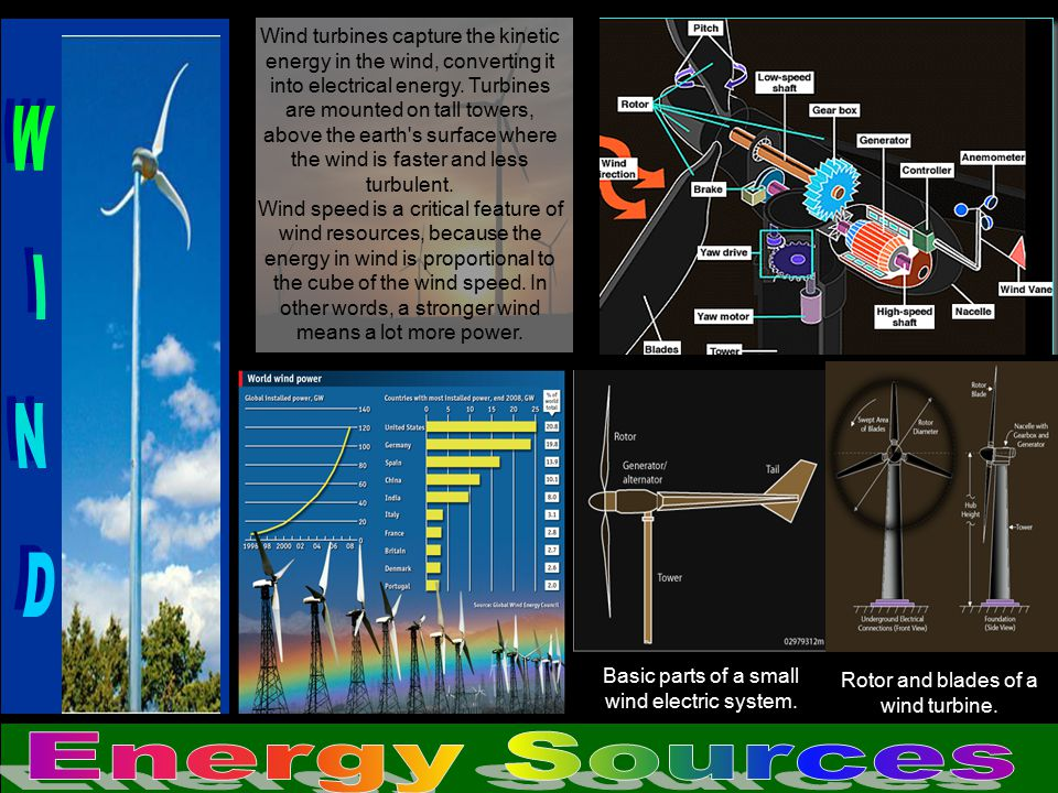 Wind turbines capture the kinetic energy in the wind, converting it into electrical energy. Turbines are mounted on tall towers, above the earth s surface where the wind is faster and less turbulent.