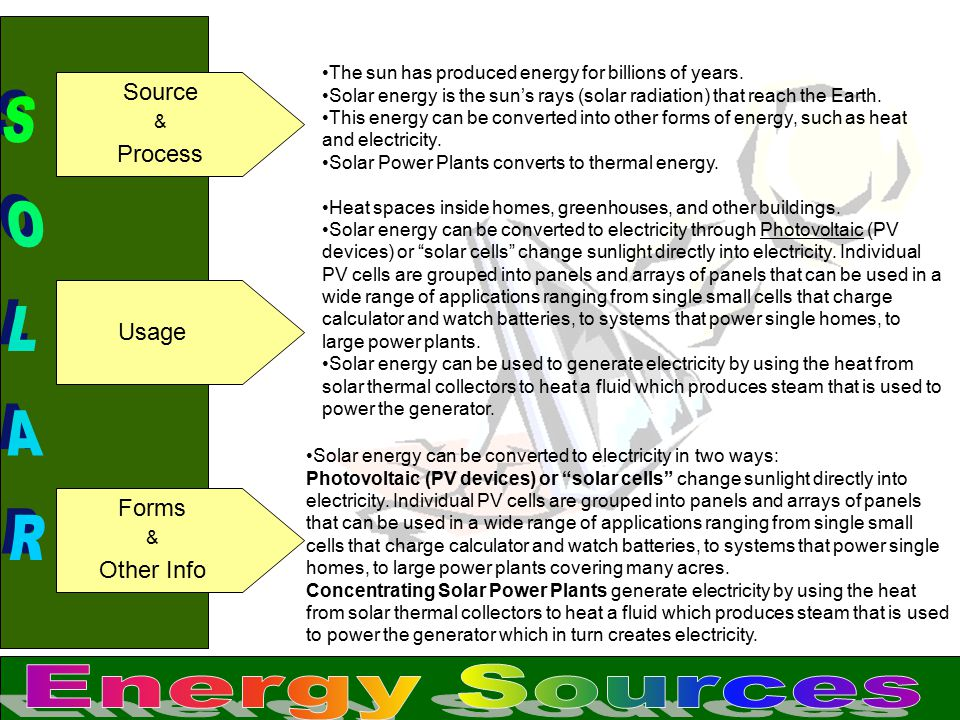 SOLAR Energy Sources Source Process Usage Forms Other Info