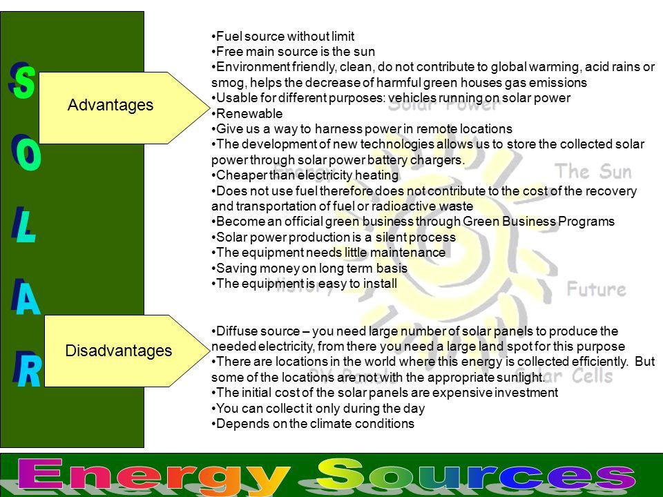 SOLAR Energy Sources Advantages Disadvantages