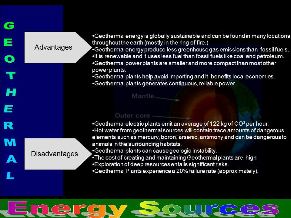 GEOTHERMAL Energy Sources Advantages Disadvantages