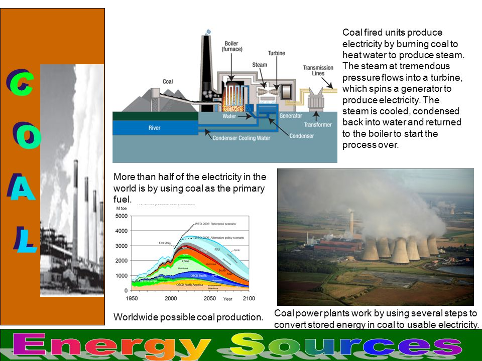 Coal fired units produce electricity by burning coal to heat water to produce steam. The steam at tremendous pressure flows into a turbine, which spins a generator to produce electricity. The steam is cooled, condensed back into water and returned to the boiler to start the process over.