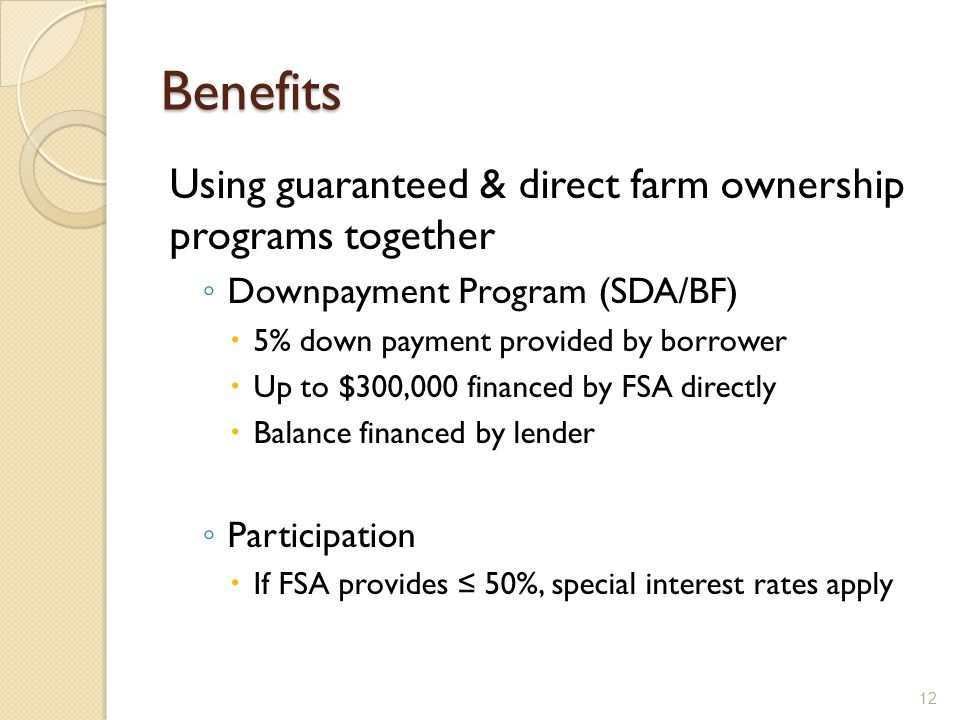 Benefits Using guaranteed & direct farm ownership programs together