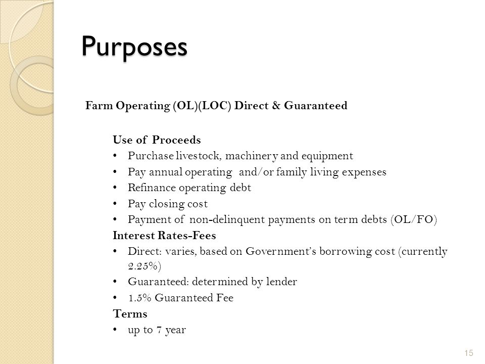 Purposes Farm Operating (OL)(LOC) Direct & Guaranteed Use of Proceeds