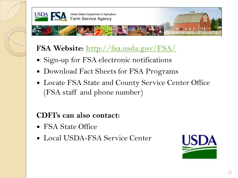 FSA Website: http://fsa.usda.gov/FSA/
