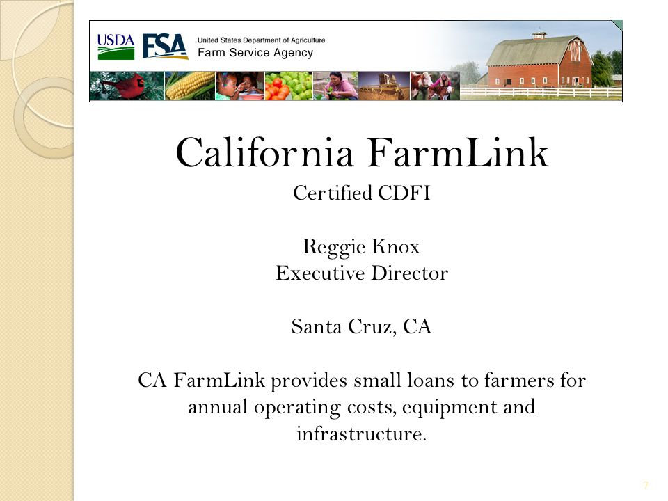 California FarmLink Certified CDFI Reggie Knox Executive Director