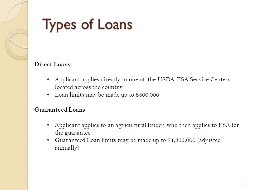 Types of Loans Direct Loans