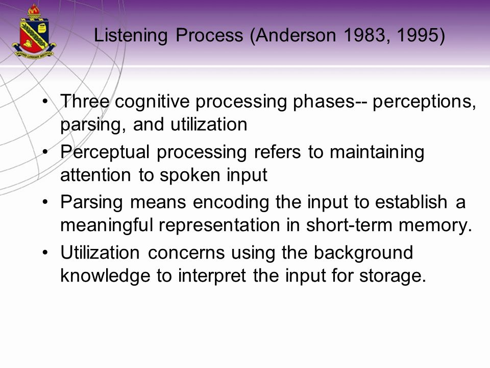 Listening Process (Anderson 1983, 1995)