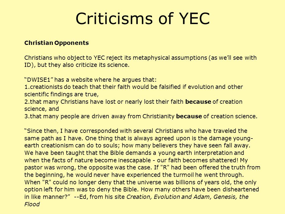 Criticisms of YEC Christian Opponents