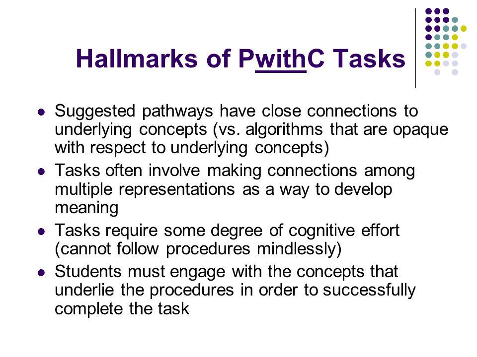 Hallmarks of PwithC Tasks