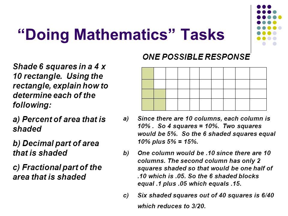 Doing Mathematics Tasks