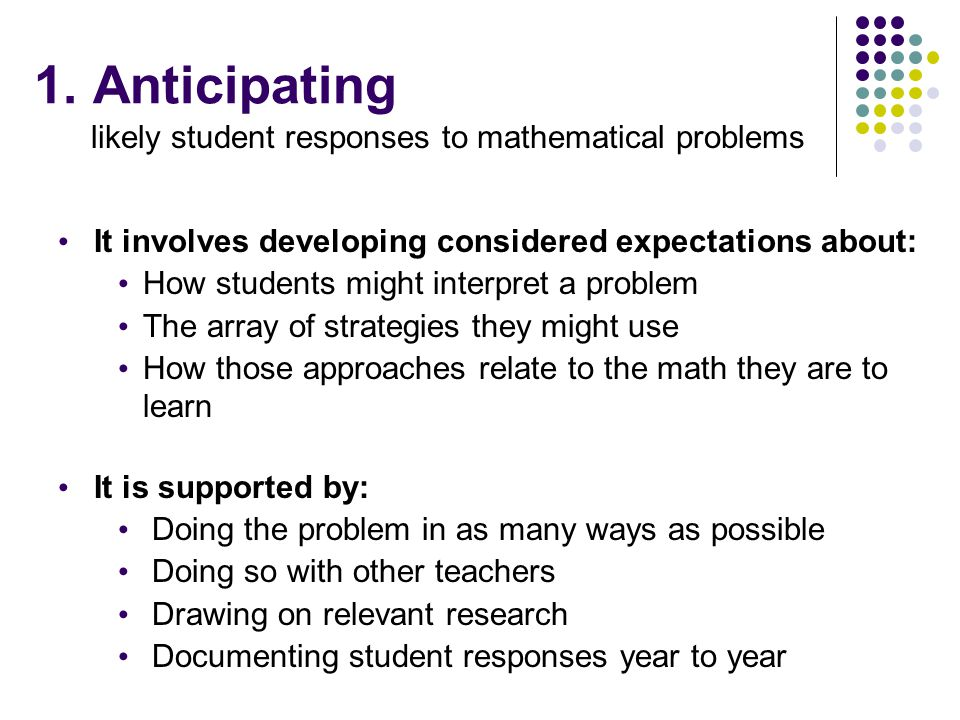 likely student responses to mathematical problems
