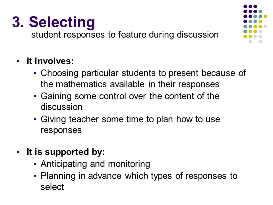 student responses to feature during discussion